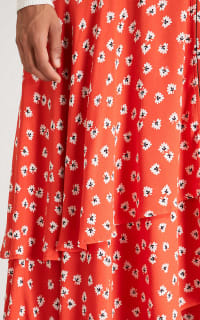 Ganni Floral-Print Crepe De Chine Wrap Maxi Dress in Red 3 Preview Images