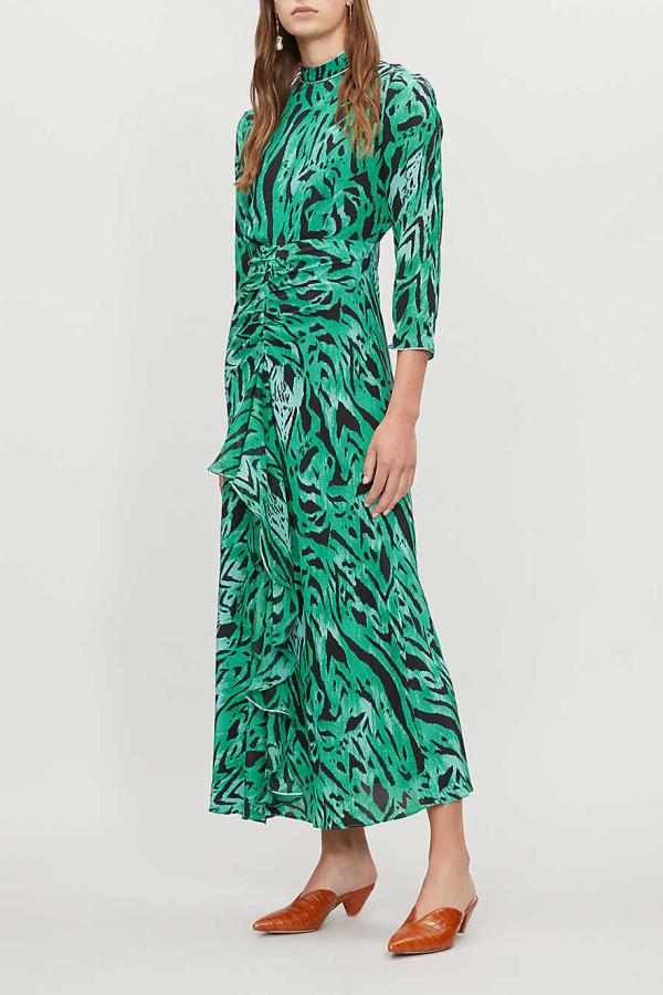 RIXO London Lucy Green Tiger Stripe Dress 2