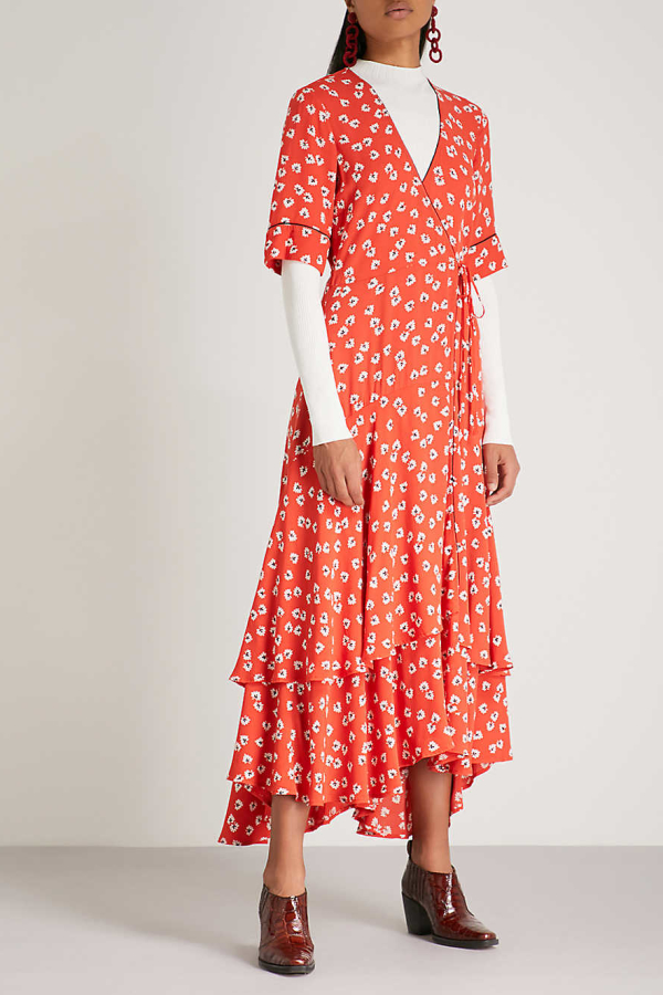Ganni Floral-Print Crepe De Chine Wrap Maxi Dress in Red 2