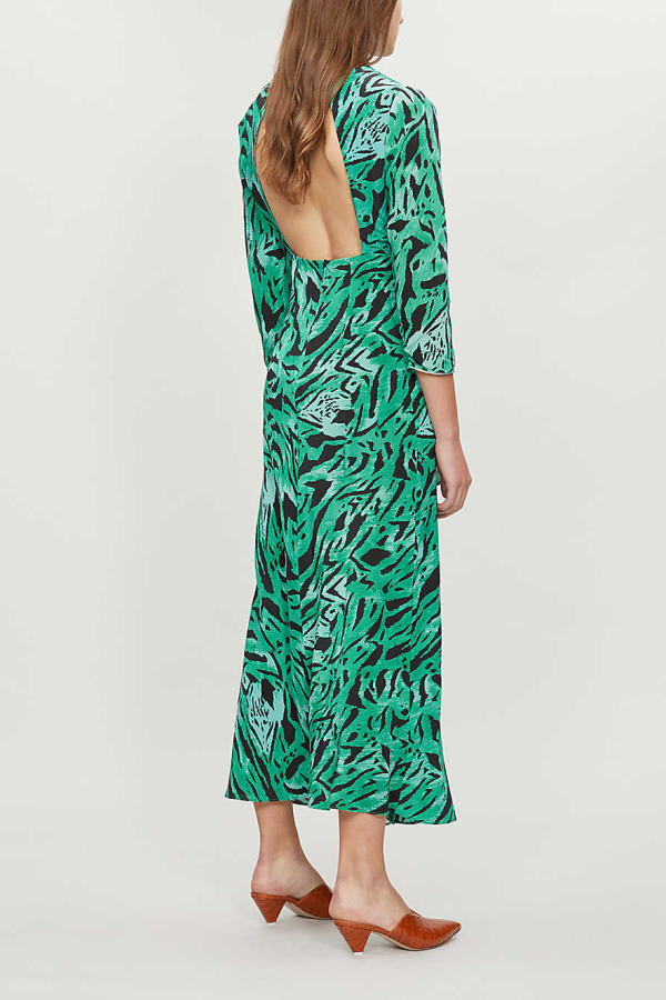 RIXO London Lucy Green Tiger Stripe Dress 3