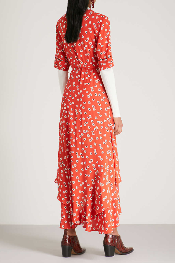 Ganni Floral-Print Crepe De Chine Wrap Maxi Dress in Red 4