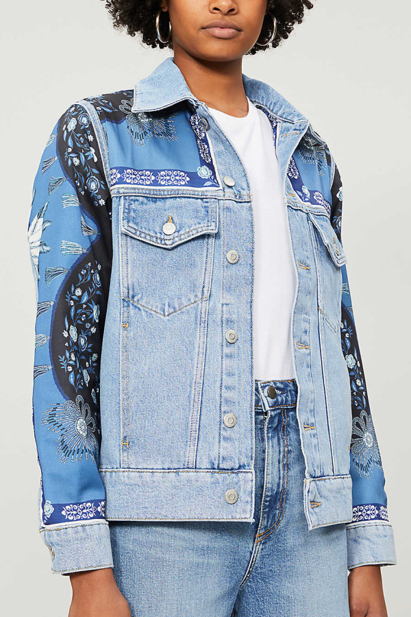 Sandro Printed insert denim jacket 4
