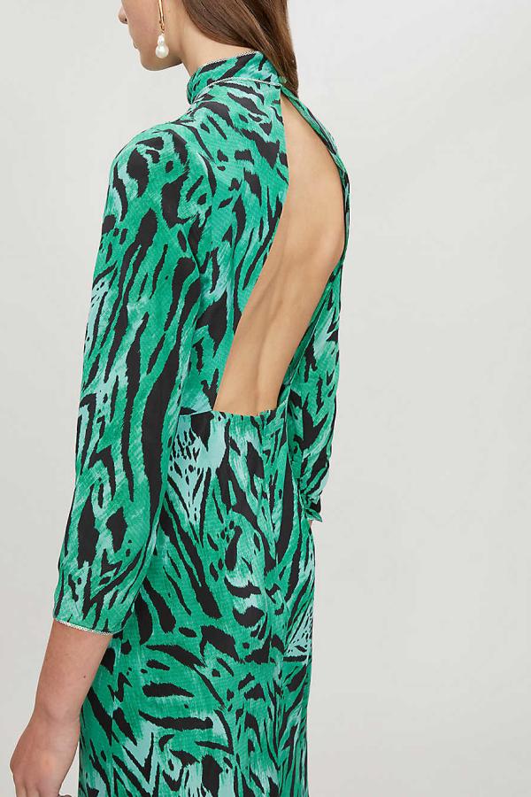 RIXO London Lucy Green Tiger Stripe Dress 4