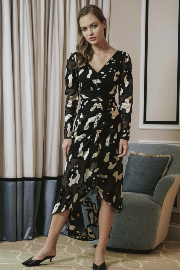Image 1 of Sau Lee nina satin devoré rushed dress