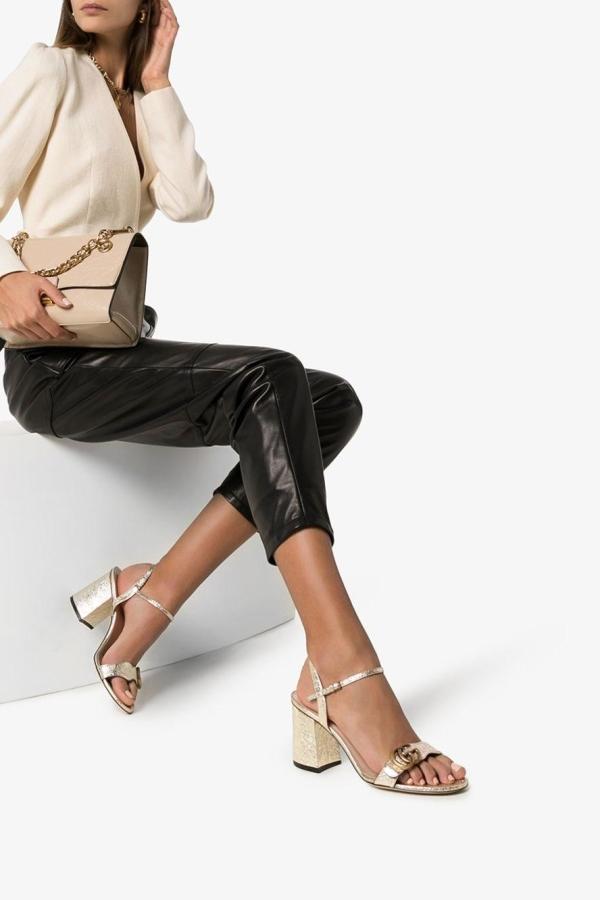Gucci Metallic laminate sandals 3