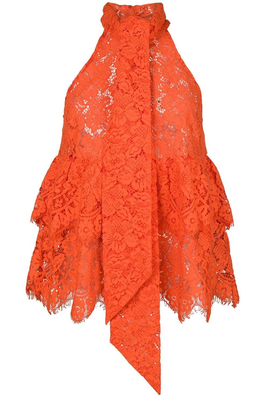 Ganni Eyelash lace halterneck top Preview Images