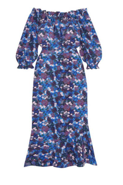 Saloni Grace off-the-shoulder floral-print silk-crepe dress