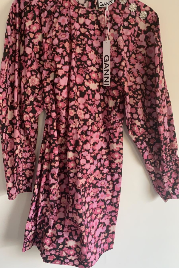 Ganni Puffed-Sleeve Mini Dress 2