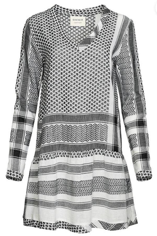 Cecilie Copenhagen DRESS 2, V, LONG SLEEVES, BLACK & WHITE
