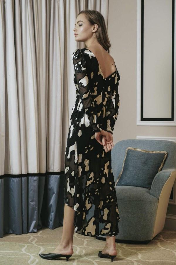 Image 3 of Sau Lee nina satin devoré rushed dress