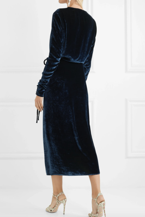 The Attico Midnight crushed velvet dress 4