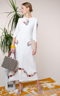 RIXO London Olivia Floral Embroidery dress 3 Preview Images
