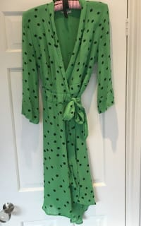 Ganni Dainty Polka Dot Crepe Wrap Dress in Green 2 Preview Images