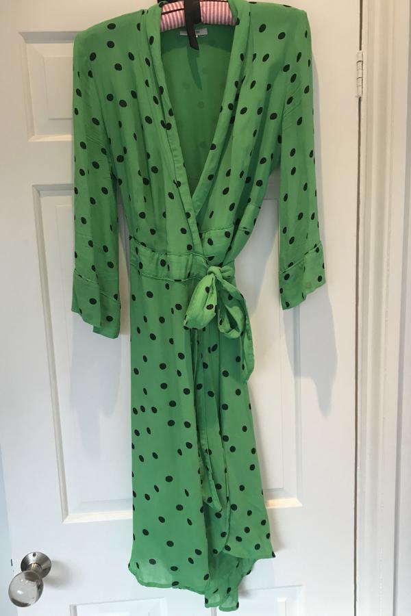 Ganni Dainty Polka Dot Crepe Wrap Dress in Green 2