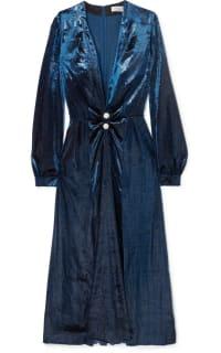 Raquel Diniz Christy crystal-embellished metallic velvet midi dress 2 Preview Images