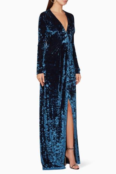 Galvan Velvet V-Neck Gown 2