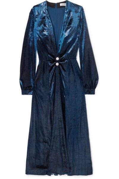 Raquel Diniz Christy crystal-embellished metallic velvet midi dress 2