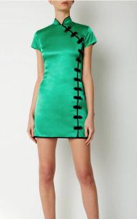 De La Vali Suki Green Satin Dress  2 Preview Images