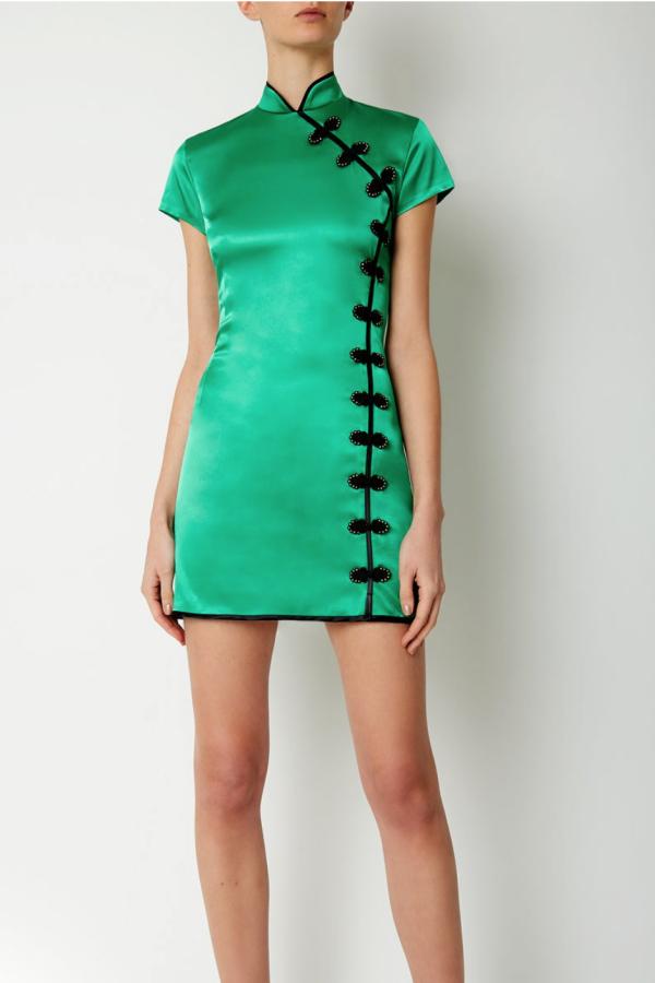 De La Vali Suki Green Satin Dress  2