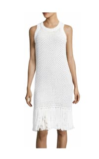 Michael Kors Fringe Trim Cotton-Blend Knit Dress 5 Preview Images