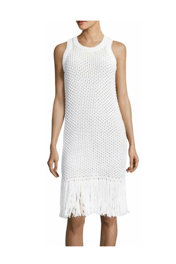 Michael Kors Fringe Trim Cotton-Blend Knit Dress 5