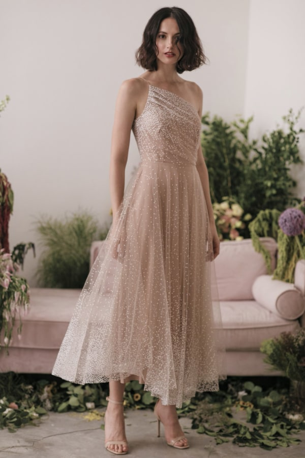 Image 1 of Sau Lee blanche ombre tulle midi dress