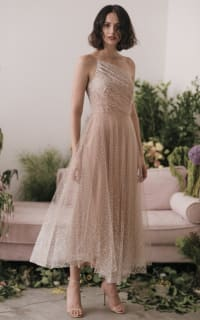 Sau Lee Blanche Ombre Tulle Midi Dress 2 Preview Images