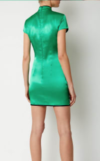 De La Vali Suki Green Satin Dress  4 Preview Images