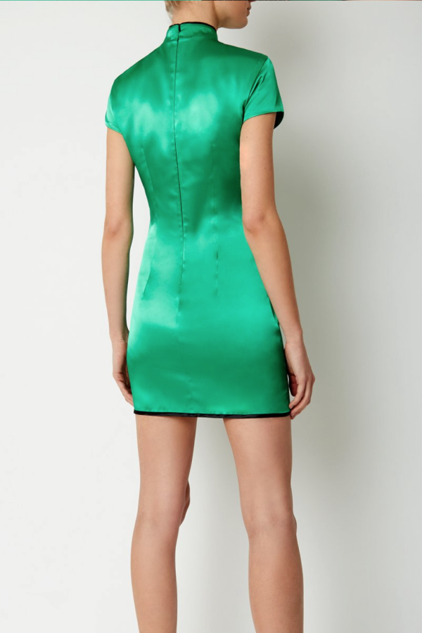 De La Vali Suki Green Satin Dress  4