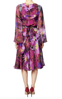 Matthew Williamson Raspberry Jungle Bloom Embroidered Flare Dress 4 Preview Images