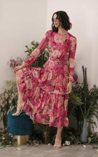 Sau Lee Faith Silk Chiffon Dress 4 Preview Images