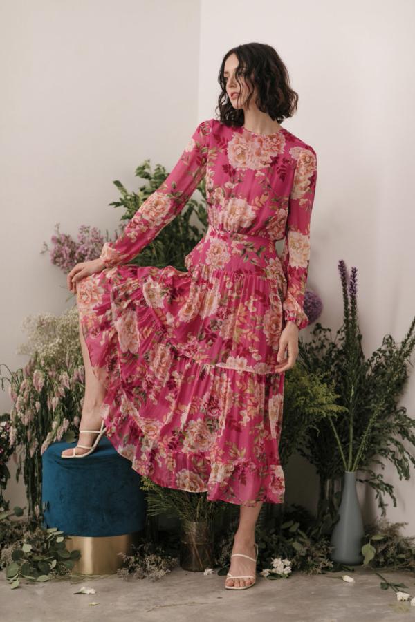 Sau Lee Faith Silk Chiffon Dress 4