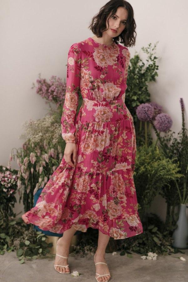 Image 1 of Sau Lee faith silk chiffon dress