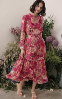 Sau Lee Faith Silk Chiffon Dress 2 Preview Images