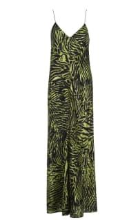 Ganni Tiger print silk maxi dress Preview Images