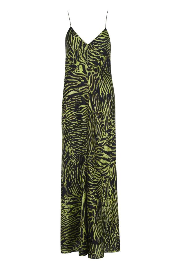 Ganni Tiger print silk maxi dress