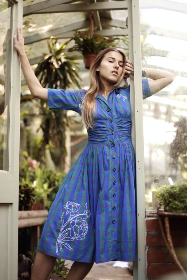 Image 1 of Revive revived 50s blue & green dress