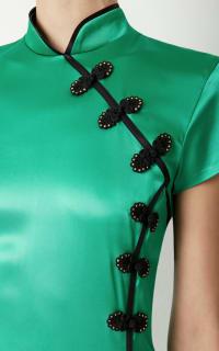 De La Vali Suki Green Satin Dress  3 Preview Images