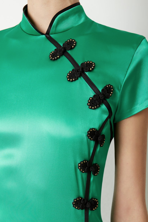 De La Vali Suki Green Satin Dress  3