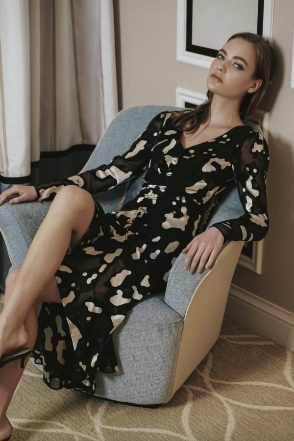 Image 2 of Sau Lee nina satin devoré rushed dress
