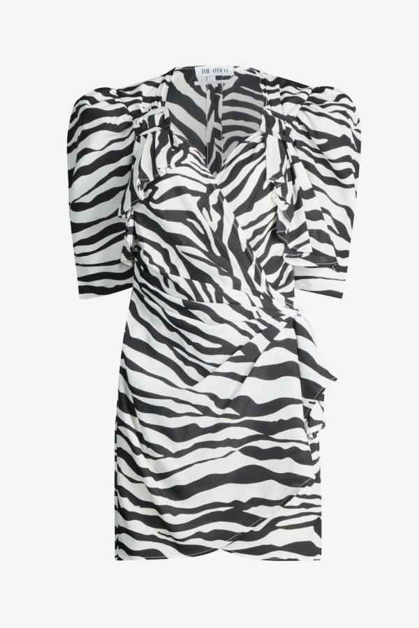 Attico Puff-sleeve zebra crepe wrap