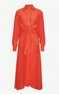 Victoria Beckham Gathered silk midi dress Preview Images