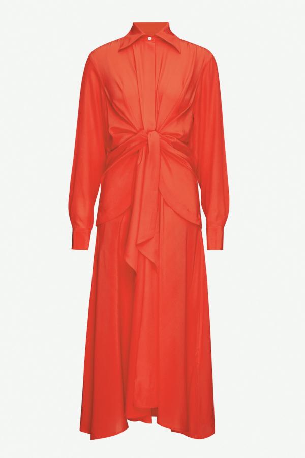 Victoria Beckham Gathered silk midi dress