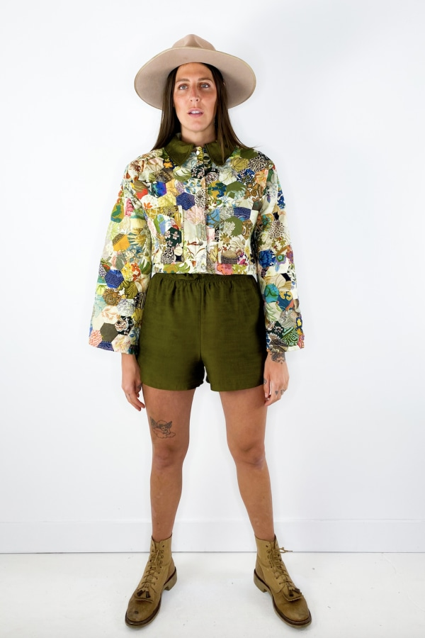 Image 2 of Magpie Vintage raw silk shorts