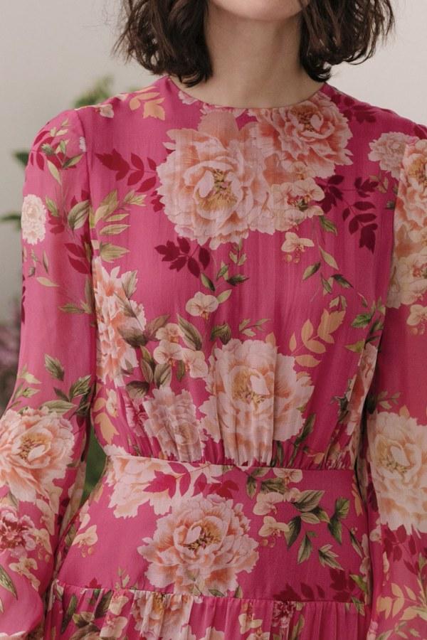 Image 4 of Sau Lee faith silk chiffon dress