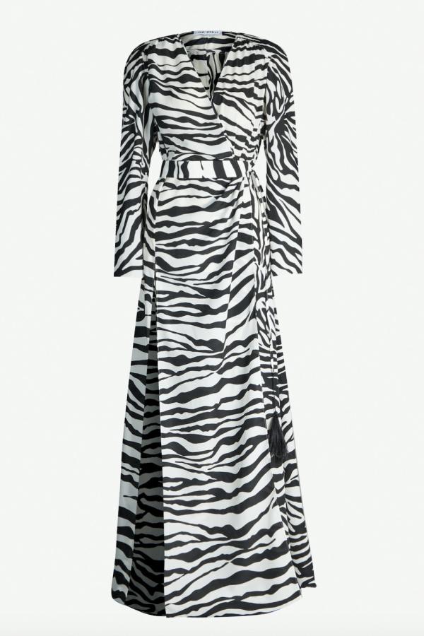 Attico Zebra-print satin-crepe dress