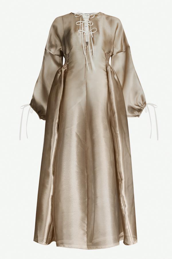 Phaedo Gold Lace Up Dress