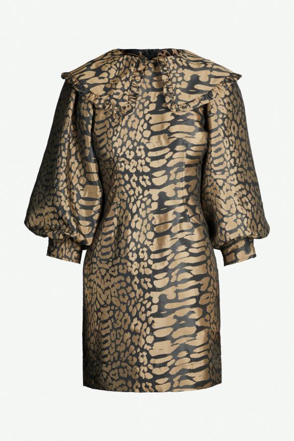 Ganni Leopard jacquard ruffle