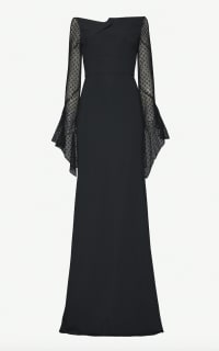 Roland Mouret Hafren semi sheer sleeve gown Preview Images