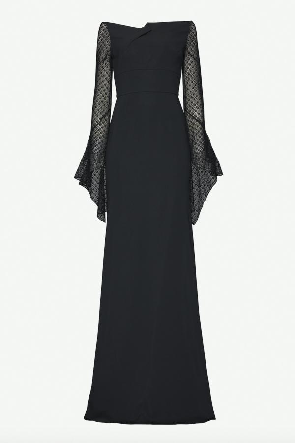 Roland Mouret Hafren semi sheer sleeve gown
